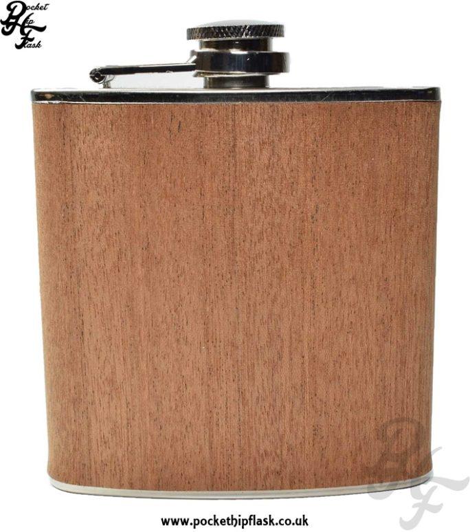 Wood Hip Flask 6oz Stainless Steel Dark Effect