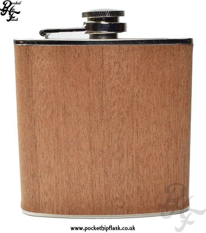 Wood Hip Flask 6oz Stainless Steel Dark Effect