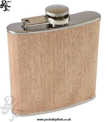 Wood Hip Flask 6oz Stainless Steel Light Effect