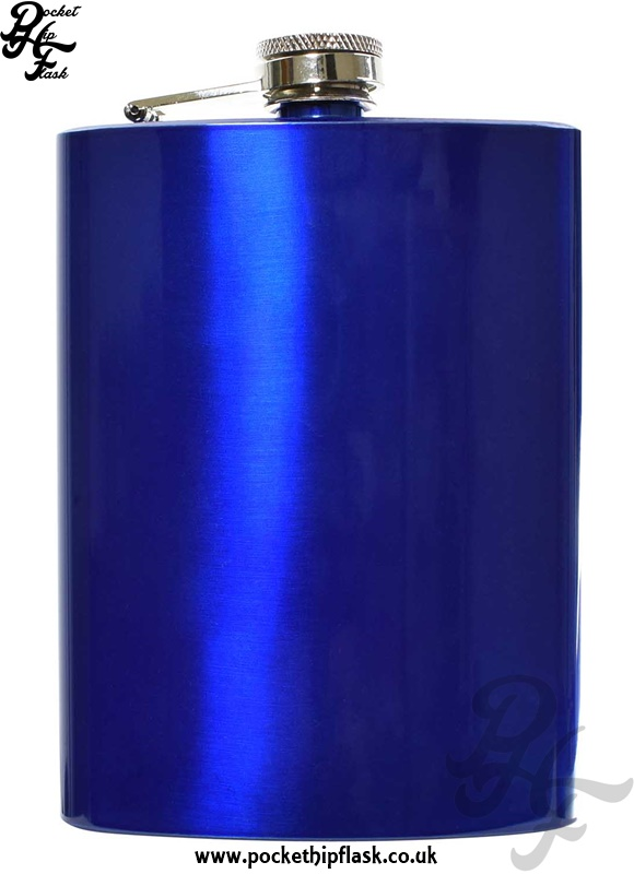 8oz Blue Stainless Steel Hip Flask