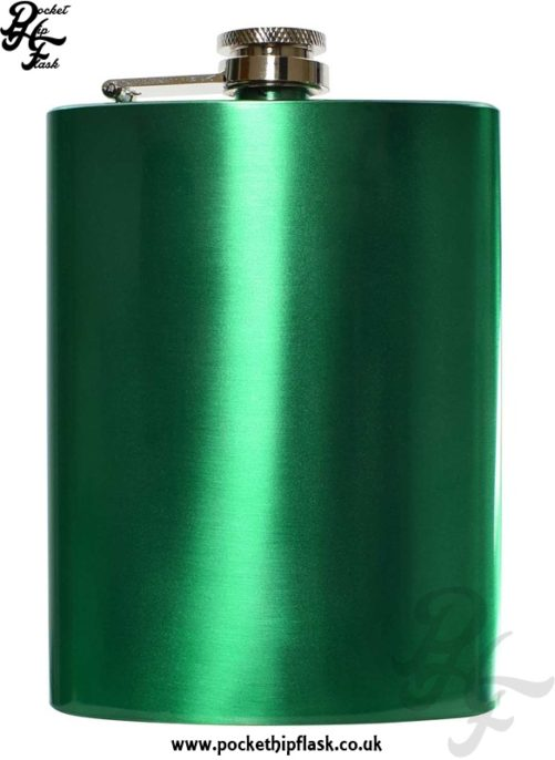 8oz Green Stainless Steel Hip Flask