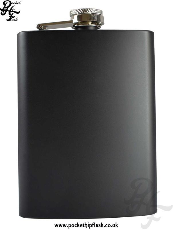 8oz Matt Black Hip Flask Stainless Steel