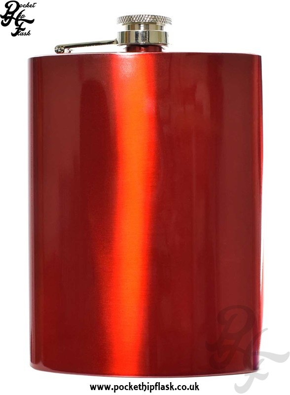 8oz Red Stainless Steel Hip Flask