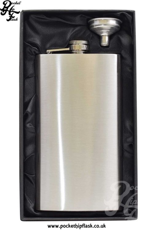 12oz Economy Hip Flask Stainless Steel in box
