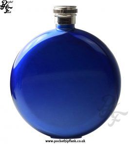 Round 5oz Blue Hip Flask