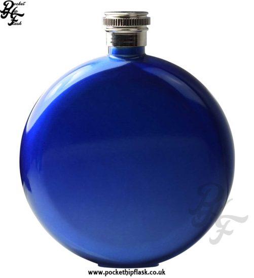 Round 5oz Blue Hip Flask
