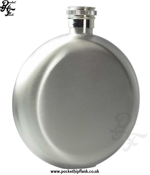 Round 5oz Brushed Stainless Steel Hip Flask
