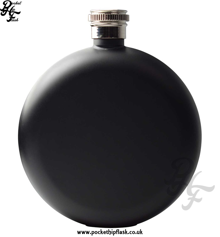 Round 5oz Matt Black Hip Flask
