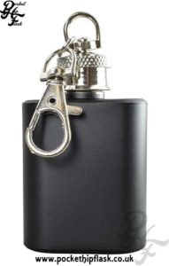 1oz Black Matt Key Chain Economy Hip Flask