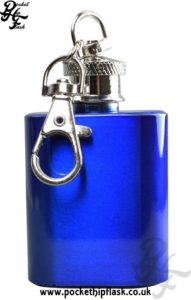 1oz Blue Key Chain Economy Hip Flask