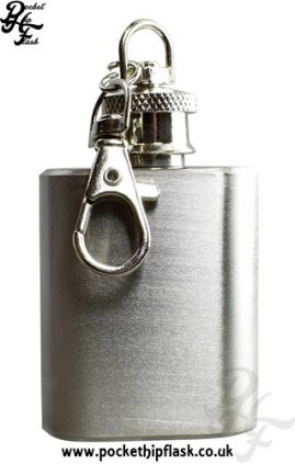 1oz Brushed Steel Key Chain Economy Hip Flask