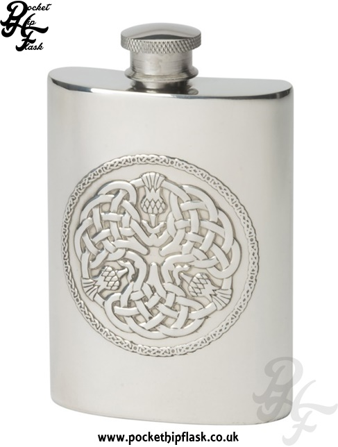 4oz Celtic Thistle Pewter Hip Flask