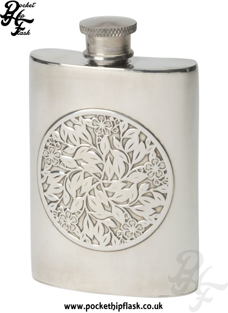 4oz Flower Pewter Hip Flask