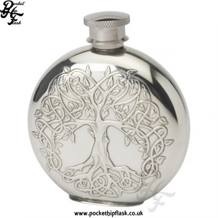 4oz Round Tree of Life Pewter Flask