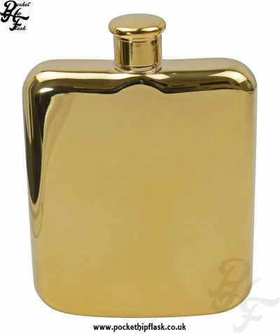 6oz Gold Colour Stainless Steel Pocket Flask