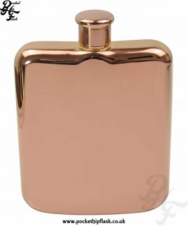 6oz Rose Gold Colour Stainless Steel Pocket Flask