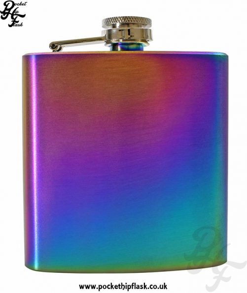Rainbow Hip Flask 6oz Stainless Steel