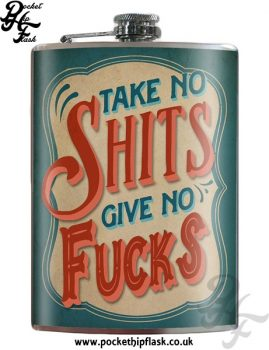 Takes no Shits Gives no Fucks 8oz Stainless Steel Hip Flask