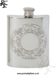 6oz Celtic Thistle Pewter Hip Flask