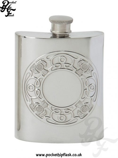 6oz Celtic Thistle Pewter Hip Flask
