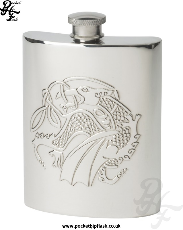 6oz Kells Dragon Celtic Pewter Hip Flask