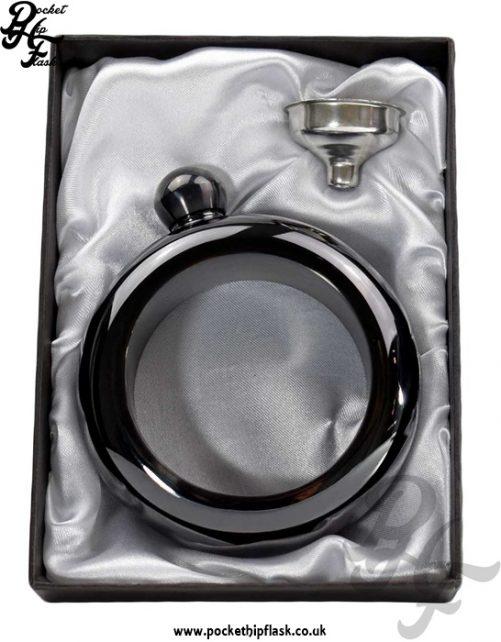 3.5oz Black Steel Bangle Hip Flask