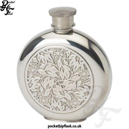 4oz Pewter Hip Flask - Round Flower