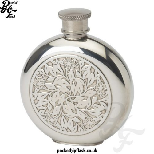 4oz Pewter Hip Flask - Round Flower