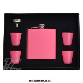 hip flask gift set - pink