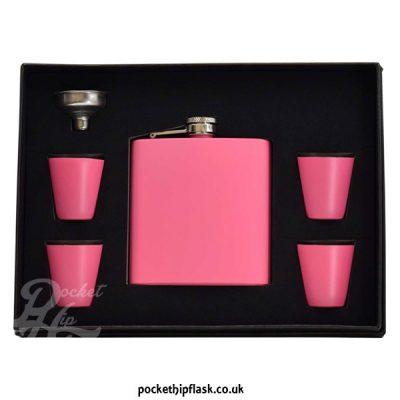 hip flask gift set - pink