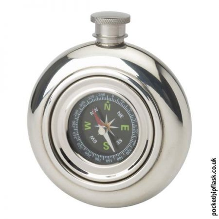 Real-Compass-Round-3.5oz-Pewter-Hip-Flask