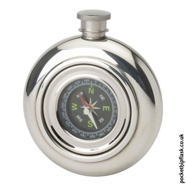 6oz Pewter Hip Flask Round Compass Round Hip Flask