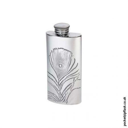 2oz-Pewter-Hip-Flask-Peacock-Feather