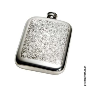 6oz-Pewter-Cushion-Hip-Flask-with-Skulls-and-Hearts