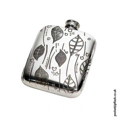 4oz-Leaf-Pewter-Cushion-Hip-Flask