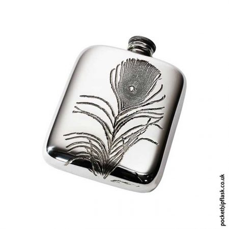 4oz-Peacock-Feather-Pewter-Cushion-Hip-Flask