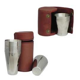 Spanish Leather and Stainless Steel Hip Flasks