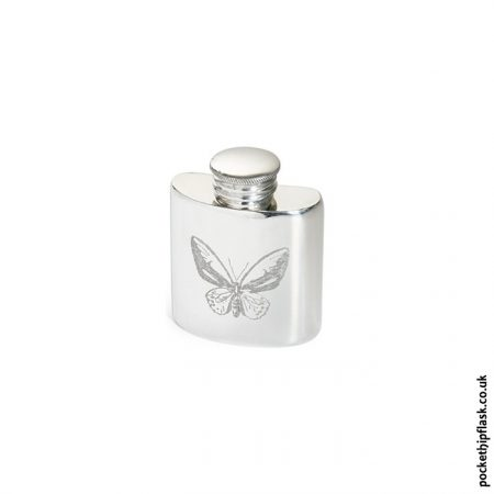1oz Pewter Butterfly Hip Flask