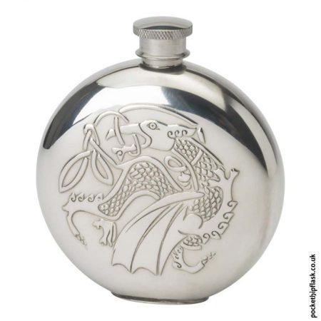 6oz-Round-Pewter-Celtic-Dragon-Hip-Flask