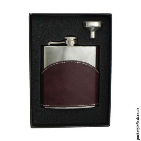 6oz-Shiny-Brown-Leather-Stainless-Steel-Hip-Flask-Boxed