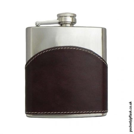 6oz-Shiny-Brown-Leather-Stainless-Steel-Hip-Flask-Front