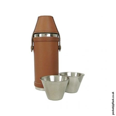 Stainless-Steel-Hunters-Flask-in-Light-Brown-Leather-with-cups
