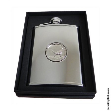 6oz-Shiny-Steel-Hip-Flask-with-Pheasant-Badge