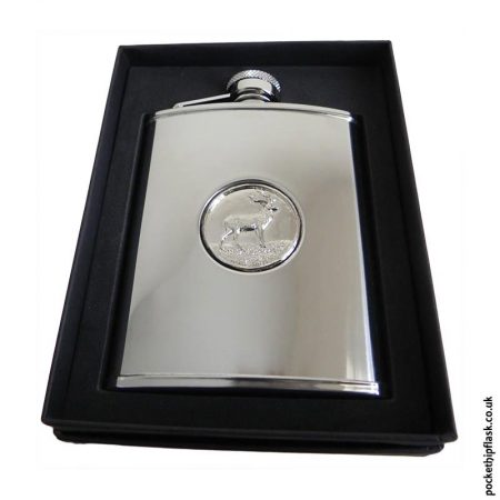 6oz-Shiny-Steel-Hip-Flask-with-Stag-Badge