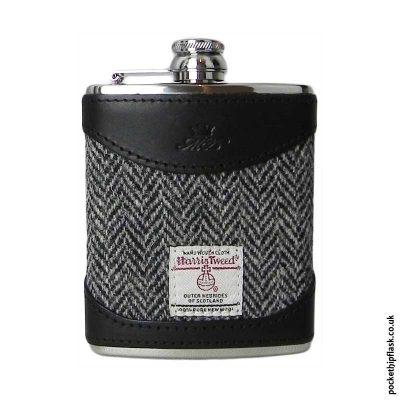 6oz-Black-Luxury-Leather-and-Tweed-Hip-Flask