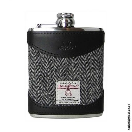 6oz-Black-Luxury-Leather-and-Tweed-Hip-Flask