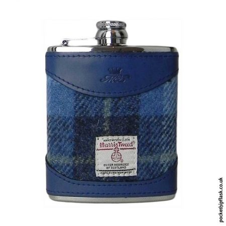 6oz-Blue-Luxury-Leather-and-Tweed-Hip-Flask