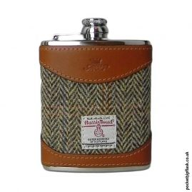 6oz-Tan-Luxury-Leather-and-Tweed-Hip-Flask