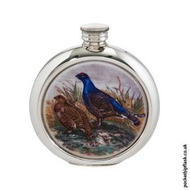 6oz-Round-Pewter-Grouse-Shooting-Hip-Flask