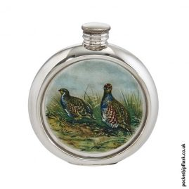 6oz-Round-Pewter-Partridge-Shooting-Hip-Flask